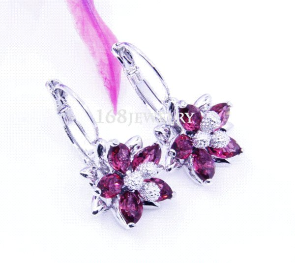 amazing dangle EARRING silver&18k white gold plated exceclent red Ruby lK1017 JEWELRY earring tag earrings resin