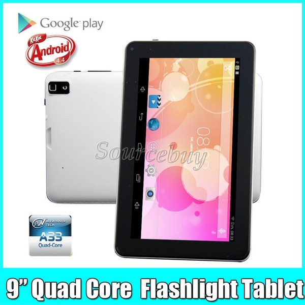 Quad Core 9 inch Allwinner A33 Dual Cameras Android 4.4 Tablet PC 512MB RAM 8GB ROM Bluetooth Wifi Capacitive Screen Flashlight Flash