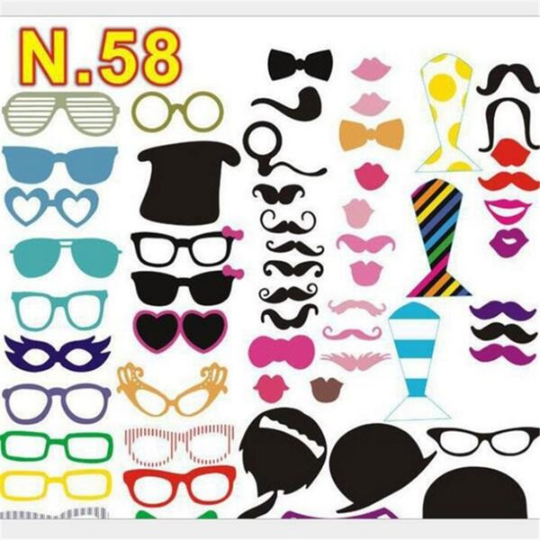 58pcs/set Mr Mrs photo booth Props Love DIY On A Stick Photography Wedding Decoration Party Decoration photobooth photocall