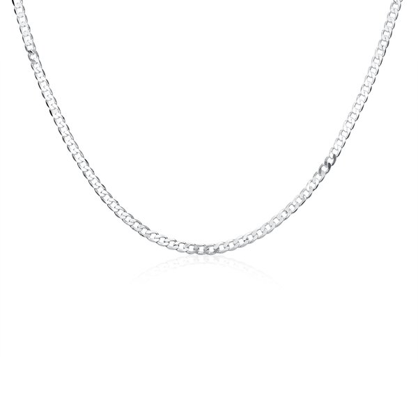 Free Shipping!!Wholesale Silver Plated Necklace & Pendant,Fashion Jewelry Accessories,Mens 4M 16''-30'' Sideways Silver Chain