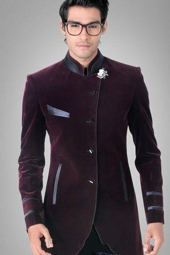 Cheap 2017 New Arrival Burgundy Velvet Groom Dress Tuxedo Men ...
