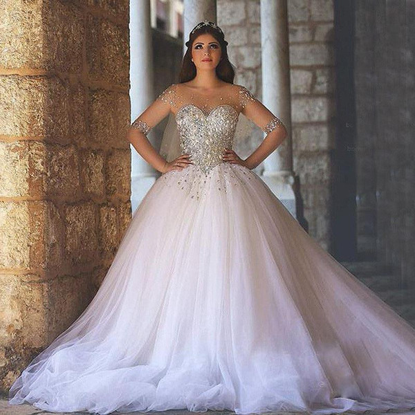 Exceptionnel Shining Beading Corset With Sheer Long Sleeves Ball Gown  Wedding Dresses 2017 Plus Size Tulle 1cae4c44b508