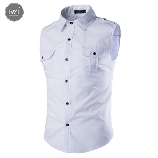a8f082567e3 Wholesale- [Asian size] Mens Solid color sleeveless dress shirt 2016 New  men Sportswear
