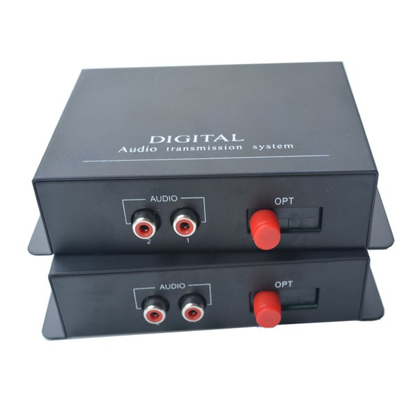 High Quality 2 Channel Hi Fi Audio Fiber Optical Media Converters 2 RCA Transmitter Receiver Single mode 20km for Intercom System