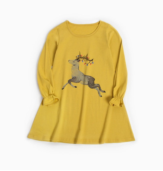 Big Girls Cotton Deer Print Dresses Spring 2019 Kids Boutique Clothing 4-12 Year Girls Casual Long Sleeves T-Shirt A-Line Dresses