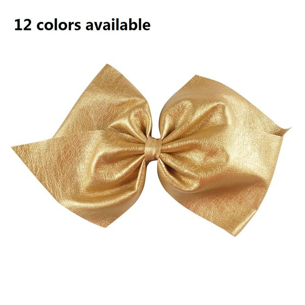 "6"" Big Leather Hair Bows For Sweet Girls Solid Hairbows With Alligator Clip High Quality Leather Hair Accessories 30pcs/"