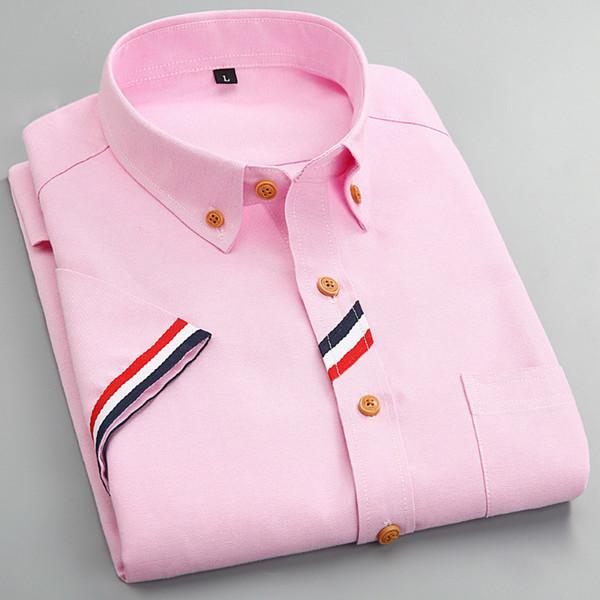 Atacado-2016 nova moda cor sólida homens camisa de vestido de manga curta projeto original Social Camisas Muscle equipado Casual Manly roupas S-4XL