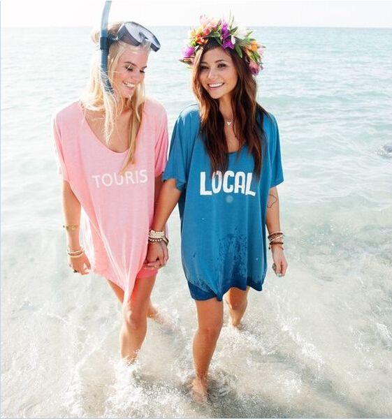 bikini letter Printing cover-ups T-shirts loose swimwear tops beach bohemian seaside blouses women holiday dress rash-guards shirts