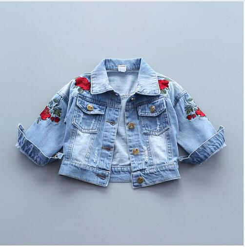 Baby Girls Denim Jacket Vintage Jeans Jackets for Girl Toddler Baby Denim Jackets Girls Jean Jacket Rose Flower Embroidery