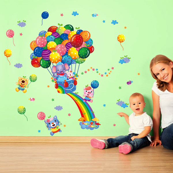 10Sets/lot Cartoon Balloon wall stickers Can be removed waterproof stickers PVC wallpaper children bedroom background adornment