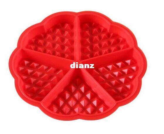 Fashion Hot Heart-shaped Waffles Mold 5-Cavity Bundt Oven Muffins Baking Mould Cake Pan Silicone Mold Tool