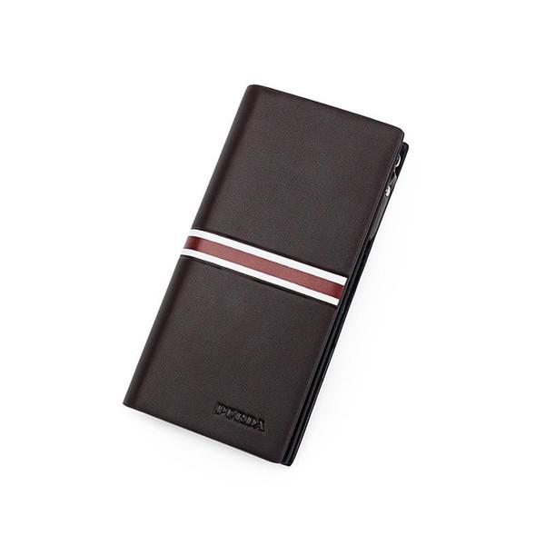 Nuove borse della moneta di modo Portafoglio uomo Borsa lunga Zip solido Casual Mobile stile americano europeo semplice per gli uomini Portafoglio fermasoldi