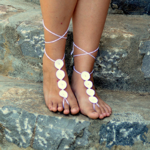 Medalion Barefoot Sandals,White Crochet Sandals, Sexy Foot Jewelry, Anklet, Toe Ring, Yoga, Foot Thongs, Nude Shoes, Lace Sandals