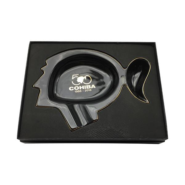 Nuevo Diseño COHIBA Cenicero de Color Negro de Lujo Negro Classcial 50 Aniversario cerámica Cigar Cenicero envío gratis