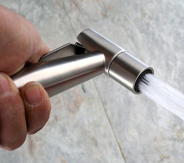 top popular lead free SUS304 Stainless Steel Shattaf Toilet Bidet Spray Hand Held Portable Bidet Shower Brushed Nickel handhedl shower sprayer BD787 2021