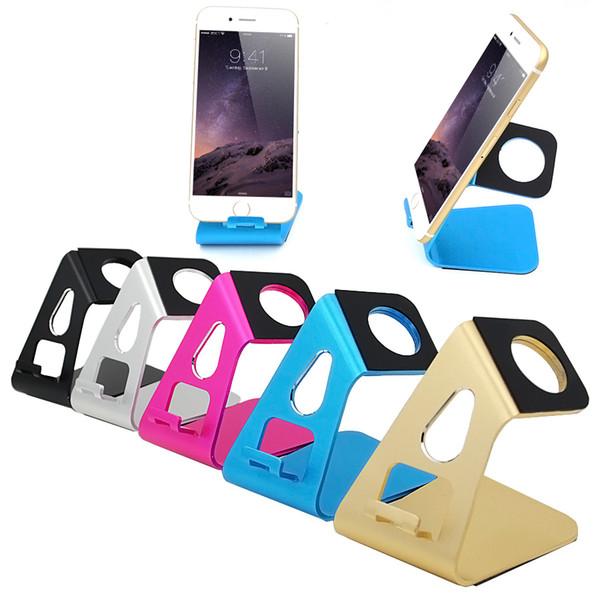 Toptan Satış - Samsung Galaxy S5 S6 S6 Kenar Smartphone İzle Alüminyum Şarj Dock için iPhone 5 5S 6 6S Plus için Toptan-Masaüstü Standı Tutucu Şarj