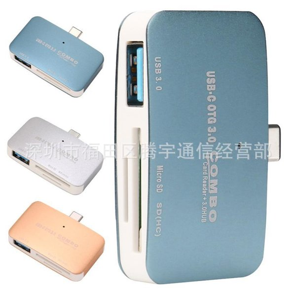 3 In1 OTG/SD/TF USB Type C Mini OTG Card Reader Micro SD HUB Mobile Phone Adapter with Real Pack