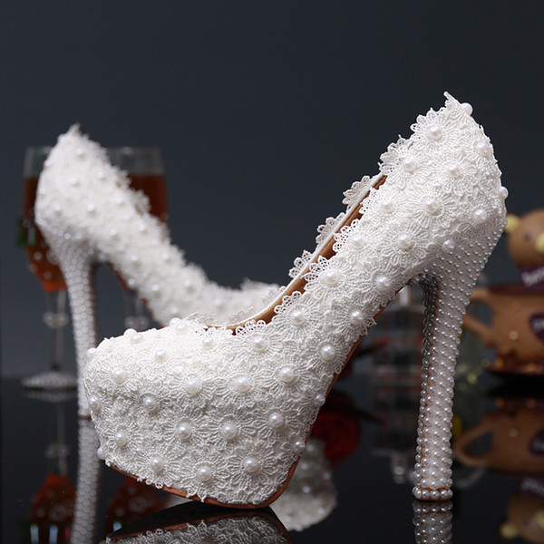 2016 Lace Wedding Shoes In High Heels 14cm 12cm 10cm Crystals