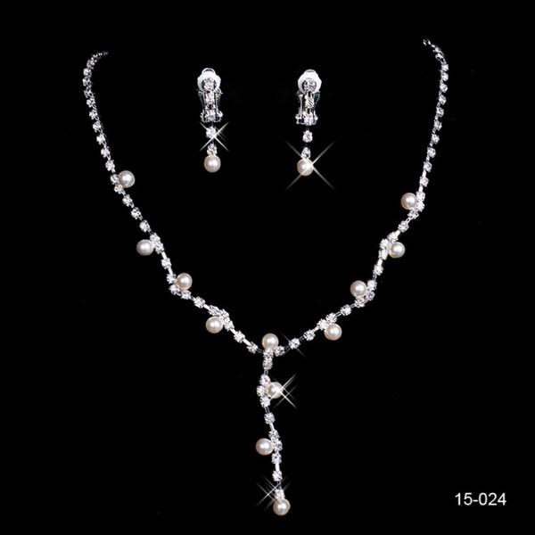Nuevo diseño elegante plateado plata perla Rhinestone nupcial collar pendientes conjunto de joyas accesorios baratos para la noche de graduación envío gratis 024
