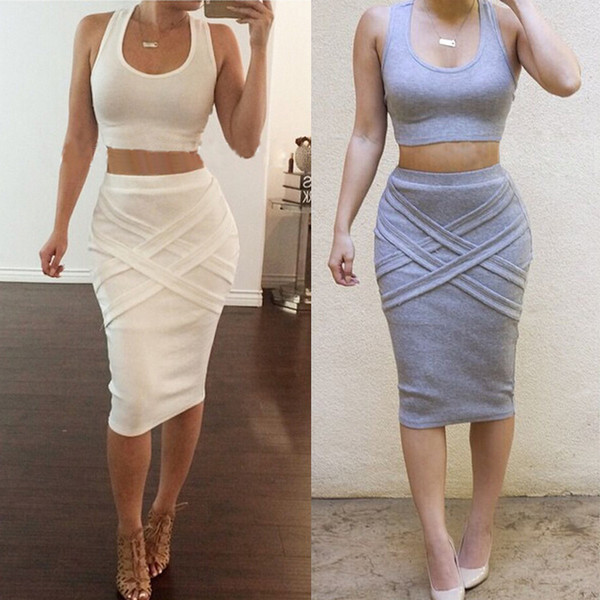 Women Two Piece Outfits New Arrival 2016 Summer White Yellow 2 Piece Bandage Dress High Waist Sexy Club Bodycon Party Dresses Hot Sleeveless