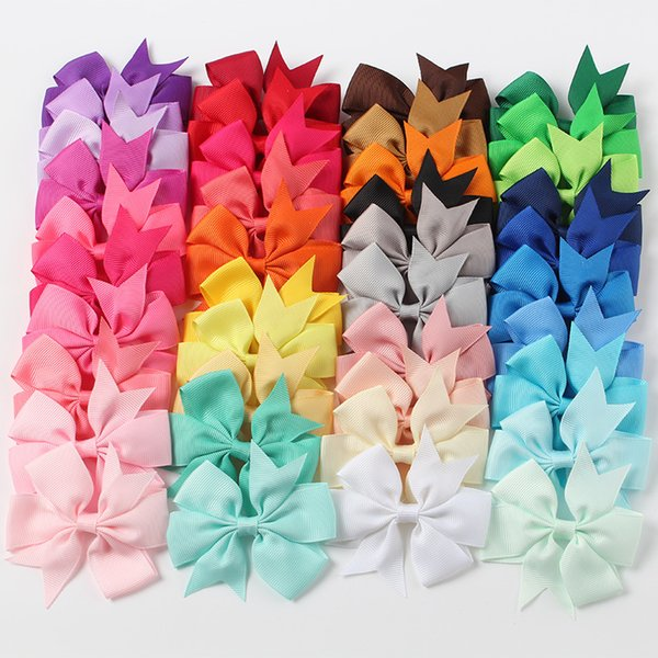 top popular Mix Colors Grosgrain Ribbon Butterfly Bows WITH Clip Girls' Boutique PinWheel Hair Clip Kids Hair Accessories XZ58 2019