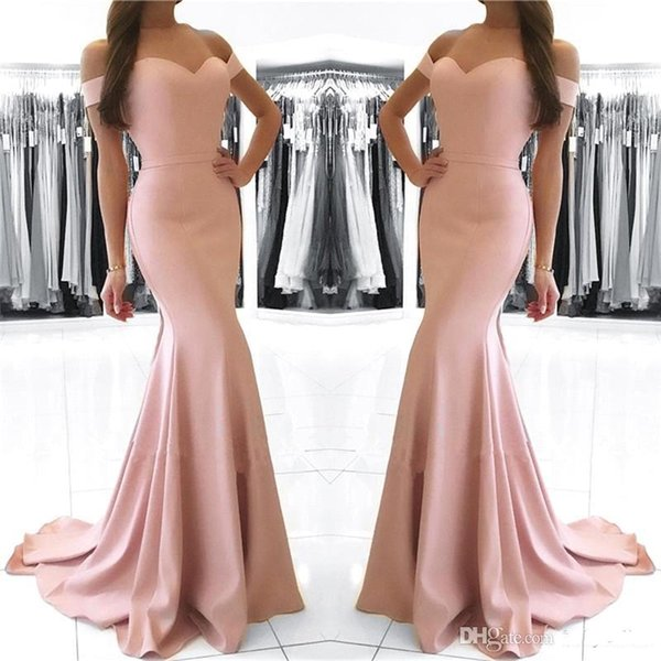 2018 Off the Shoulder Sweetheart Blush Pink Mermaid Abiti Da Sera Raso Prom Party Gown Custom Made Tromba Celebrity Gown