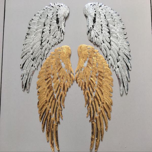 1 paire de patchs de paillettes brodées motif aile d'ange zakka patchwork accessoires appliques DIY bricolage travail à la main belle