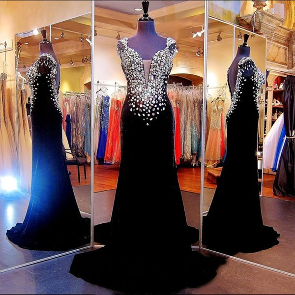 Sexy Black 2018 Prom Dresses Crystal Beading Sheath Formal Evening Gowns With Scoop Neck Cap Sleeves Sheer Backless Arabic Gowns