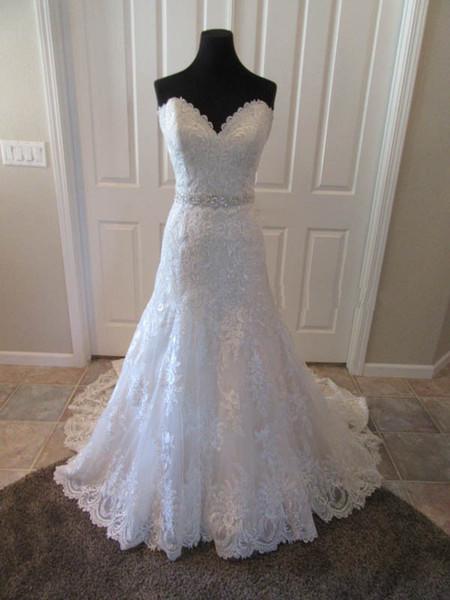 Vestido de satén con cuentas de encaje Sweetheart Satén con cuentas vestido de novia Vestido de Noivas por encargo más tamaño Robe de Mariee