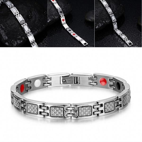 Unisex Carbon Fiber Health Energy Germanium Infrared Negative Ion Magnetic Stainless Steel Bracelet Men Women Jewelry B865S