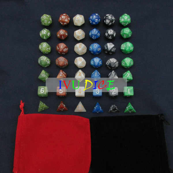 42pcs DND Table BOARD GAME Dungeons&Dragons Magic Colors White Black Green Blue Brown Army green bosons Party Children dices IVU
