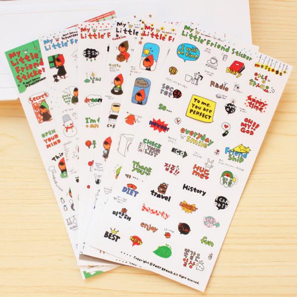 Wholesale- 6 sheets Kawaii Little Friend Cute Girl Sticker Diary Notebook Decor Scrapbooking Planner Calendar Decor Student School Supplies