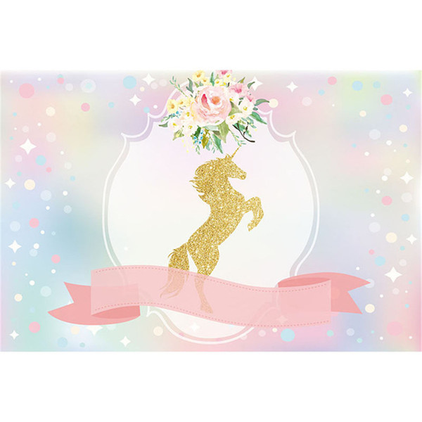 Gold Unicorn Birthday Party Photography Backdrop Pink Ribbon Digital Printed Flowers Bokeh Baby Shower Photo Background for Studio