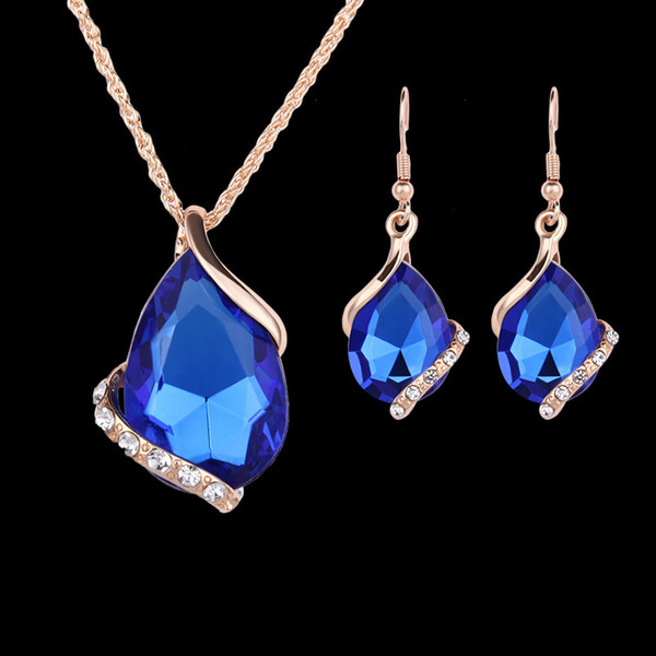 best selling Earrings Necklaces Sets Fashion Women Elegant 5 Colors Water Drop Style Rhinestone Gold Plated Jewelry Sets 2-Piece Set Wholesale JS127