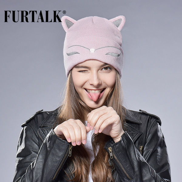 Wholesale- FURTALK Woman Knitted Baby Hat Wool Cotton Cuff Beanie Hat Ski Cap Spring Autumn Girls Hats for Women Sock Caps Stocking Hat Cat