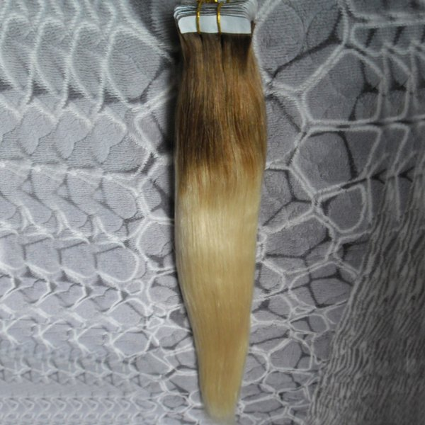 T8/613 blonde two tone ombre hair Straight tape in human hair extensions 100g 40pcs skin weft tape hair extensions