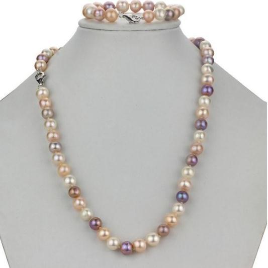 Braccialetto in ottone da 18 pollici Set di bracciali da 18 pollici a forma di braccialetto di perle d'acqua dolce naturale color rosa