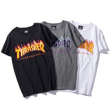 2018 Popular Logo Camisetas de Impresión de Fuego Clásico Hiphop Streetwear Camisetas Hombre Crew Neck Moda Camisetas Sueltas Buena Calidad Tops de Verano