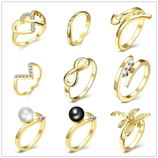2016 Gold Plated Crystal Heart Cross infinity Ring Wing Butterfly Pearl Statement jewelry Party Accessories Wholesale Size #7/8 for women