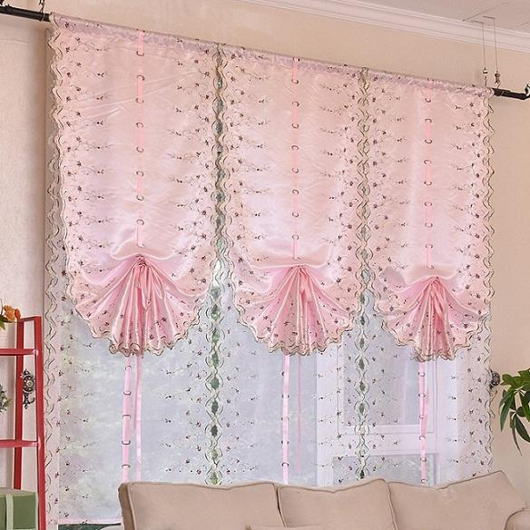Pink / White Joyous Roman Blinds Short Curtain Curtains For Kitchen Coffee  Tulle Yarn Sheer Curtains