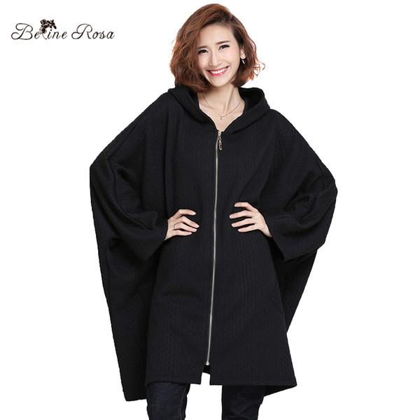 Al por mayor-BelineRosa 2017 de las mujeres de invierno ropa de talla grande de color puro de estilo europeo Casual Batwing manga de gran tamaño de la capa suelta HS000381