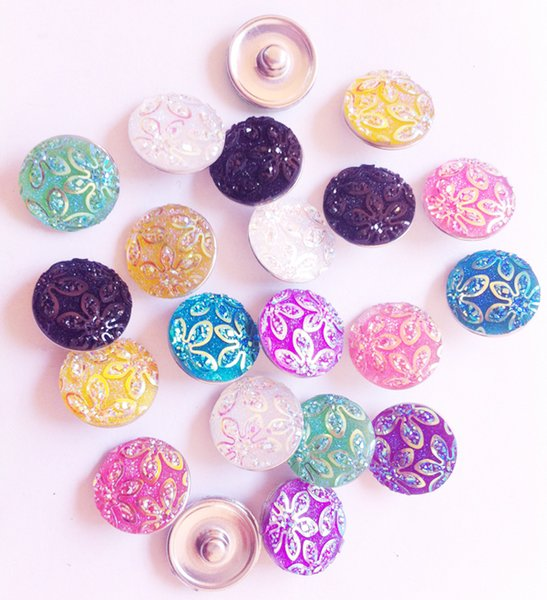 40pcs / lot Mix Couleurs Mode Plastique Bauhinia Fleur Noosa Chunks Métal Gingembre 18mm boutons pression pour résultats de bijoux bracelet diy