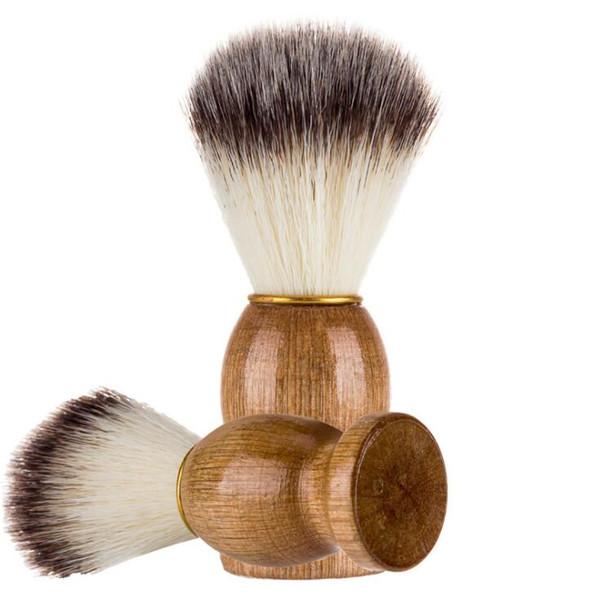 Barber Hair Shaving Razor Brushes Natural Wood Handle Nylon Bristle Beard Brush For Men Best Gift Barber Tool 100Pcs