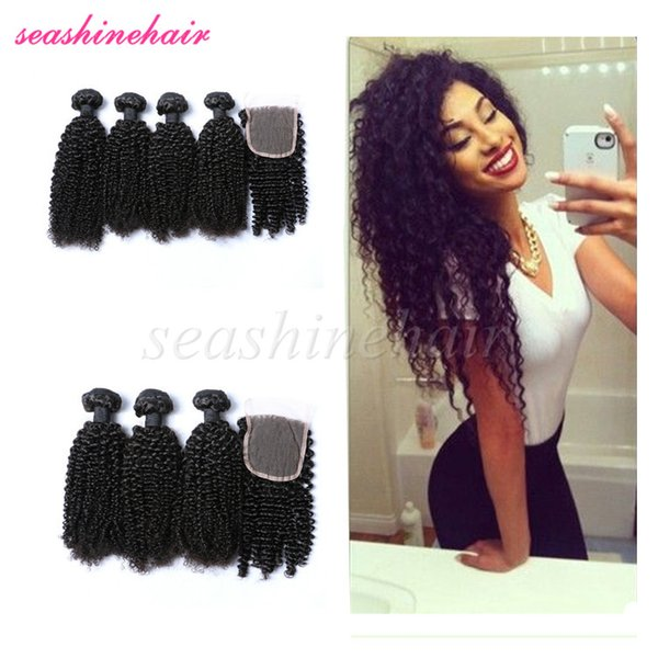 Indian Virgin Kinky Curly Hair With Closure Milky Way Afro Kinky
