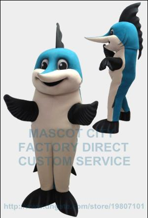 Blue Marlin Fish Mascot Costume Adult Marlin Theme Anime Cosply Costumes Sport Carnival Mascotte Fancy Dress Suit Kits 2052