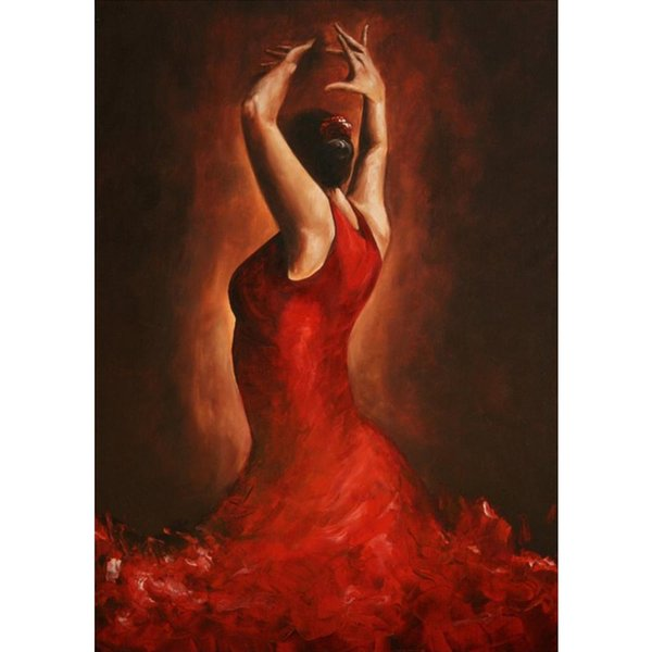 Flamenco Spanish Dancer oil paintings Hand painted modern art Woman in red dress High quality