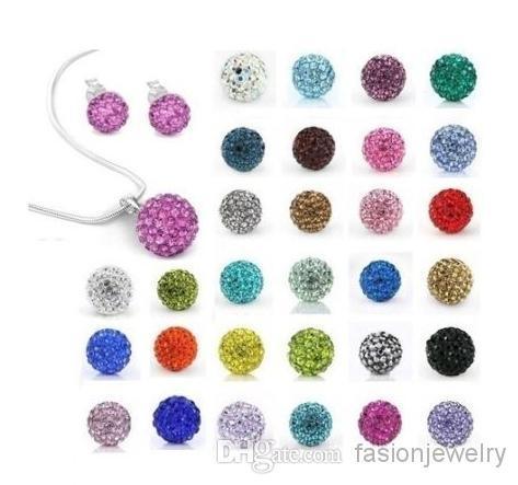 new 10Pcs/lot 10mm crystal clay hotsale disco bead Rhinestone shamballa Set necklace studs earrings drop jewelry set hot sale DIY