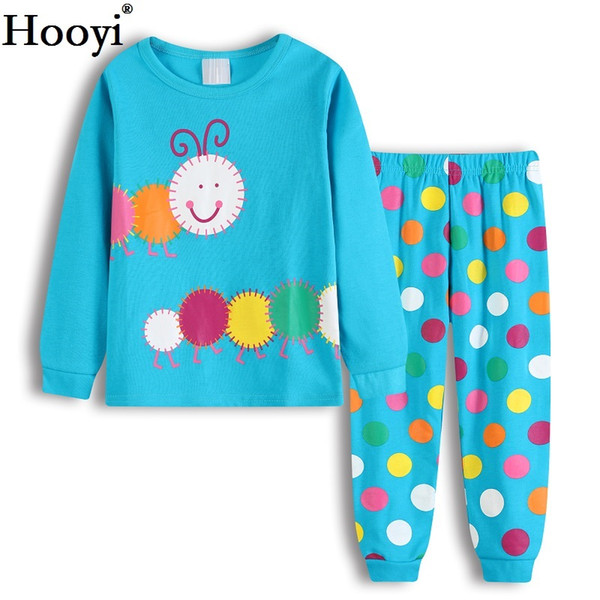 Hooyi Blue Baby Girls Clothes Suits Polka Dot Worm Cute Children Pajamas Sets Long Autumn Cotton Pijamas T-Shirt Pant Sleepwear 2-7Years