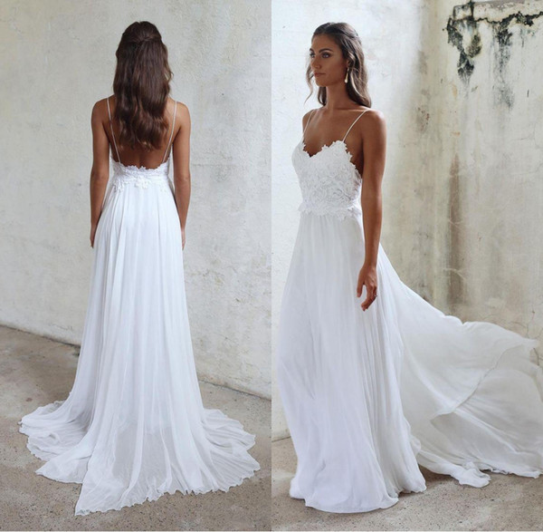 best selling Sexy Spaghetti Straps Beach Wedding Dress Cheap Long Chiffon Bridal Gowns Backless Lace Appliqued Sheath Wedding Gowns