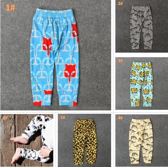 6 Style kids INS Leopard pp pants baby toddlers 2017 New boys girls fox dinosaur geometric figure fruit trousers Leggings